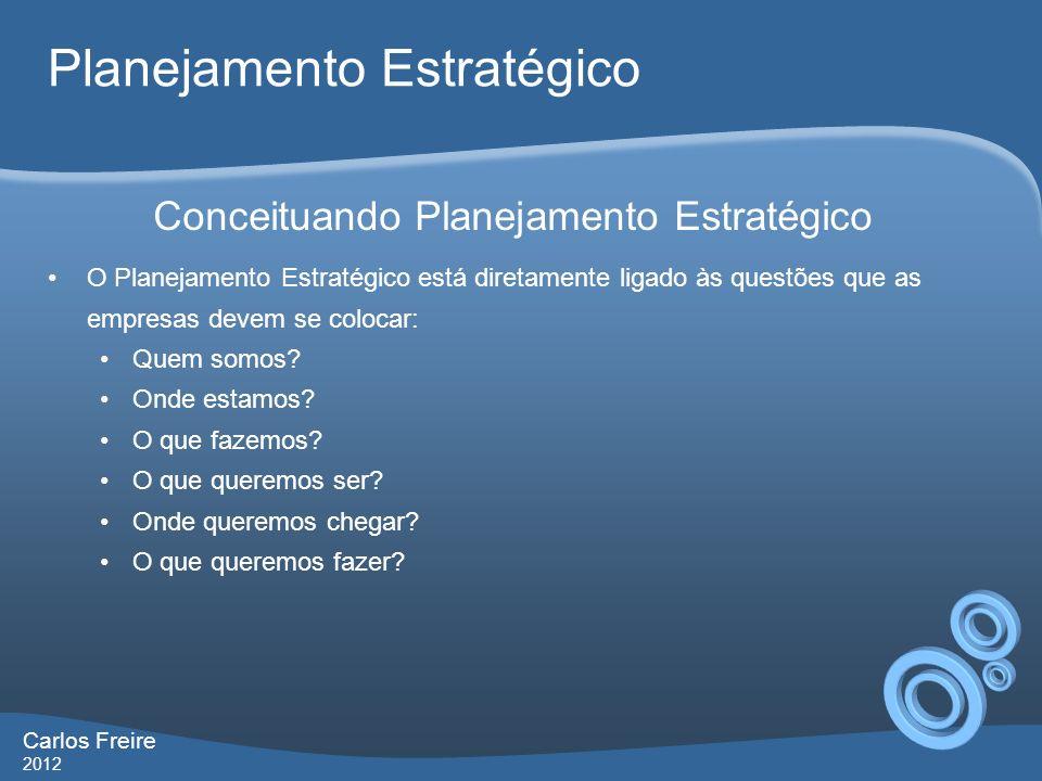 Carlos Freire 2012 Planejamento Estratégico O Planejamento Estratégico está diretamente ligado às questões que as empresas devem se colocar: Quem somos.