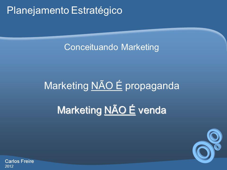 Carlos Freire 2012 Conceituando Marketing Marketing NÃO É propaganda Marketing NÃO É venda Planejamento Estratégico