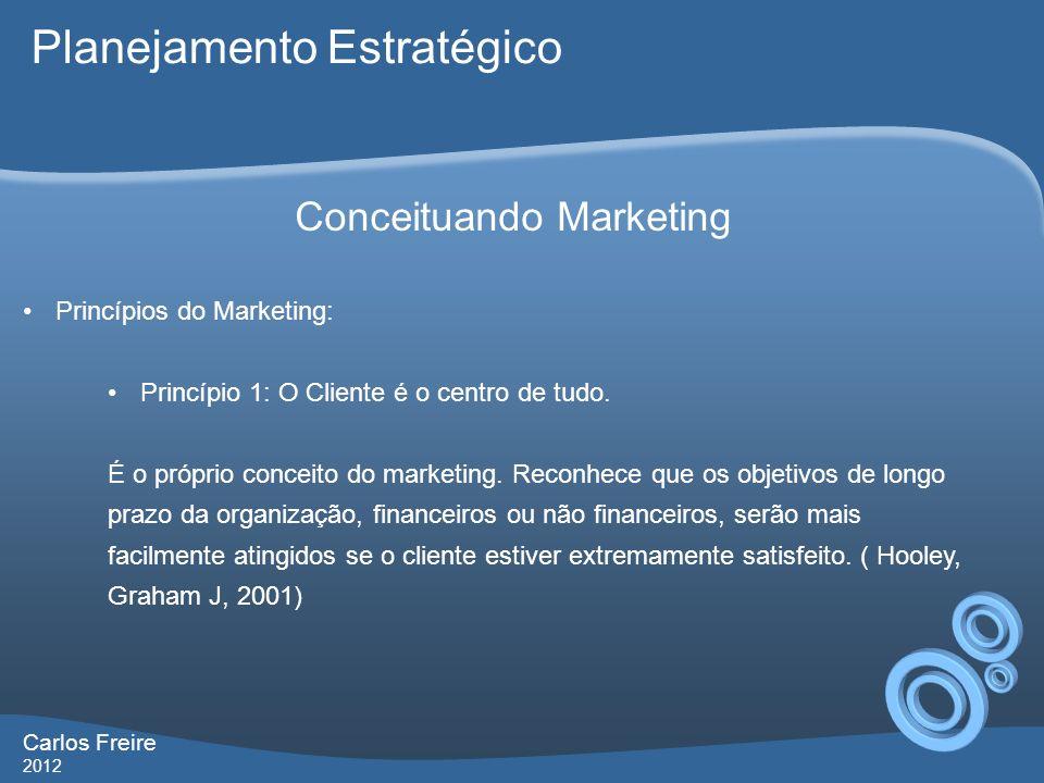 Carlos Freire 2012 Conceituando Marketing Princípios do Marketing: Princípio 1: O Cliente é o centro de tudo.