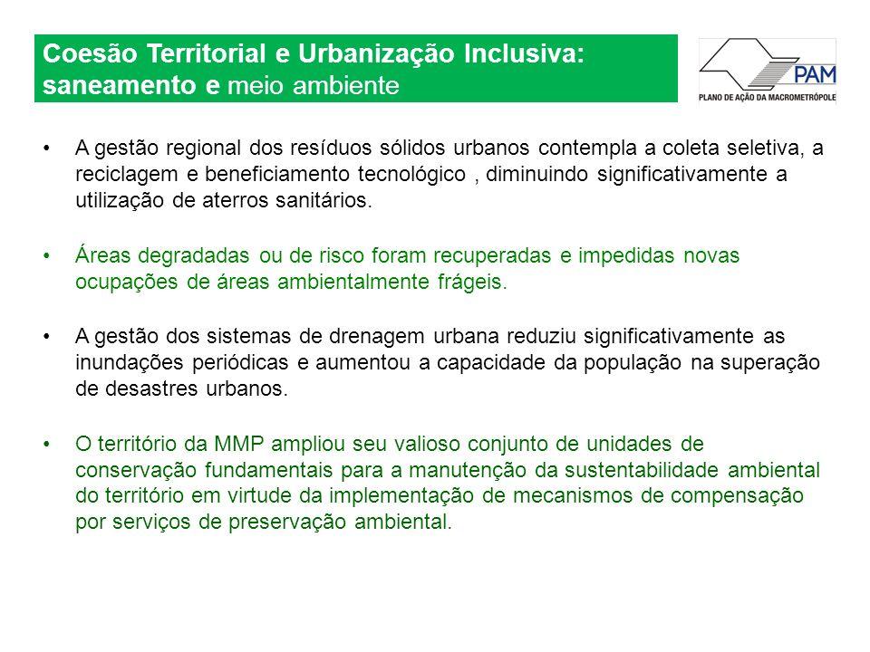 A gestão regional dos resíduos sólidos urbanos contempla a coleta seletiva, a reciclagem e beneficiamento tecnológico, diminuindo significativamente a