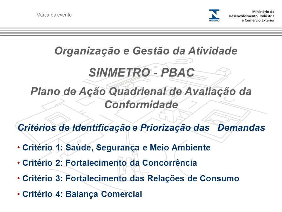 Marca do evento SINMETRO - PBAC Critérios de Identificação e Priorização das Demandas Critério 1: Saúde, Segurança e Meio Ambiente Critério 2: Fortalecimento da Concorrência Critério 3: Fortalecimento das Relações de Consumo Critério 4: Balança Comercial Plano de Ação Quadrienal de Avaliação da Conformidade Organização e Gestão da Atividade