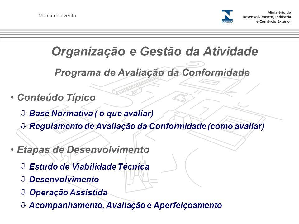 Marca do evento Conteúdo Típico Organização e Gestão da Atividade Programa de Avaliação da Conformidade Base Normativa ( o que avaliar) Regulamento de