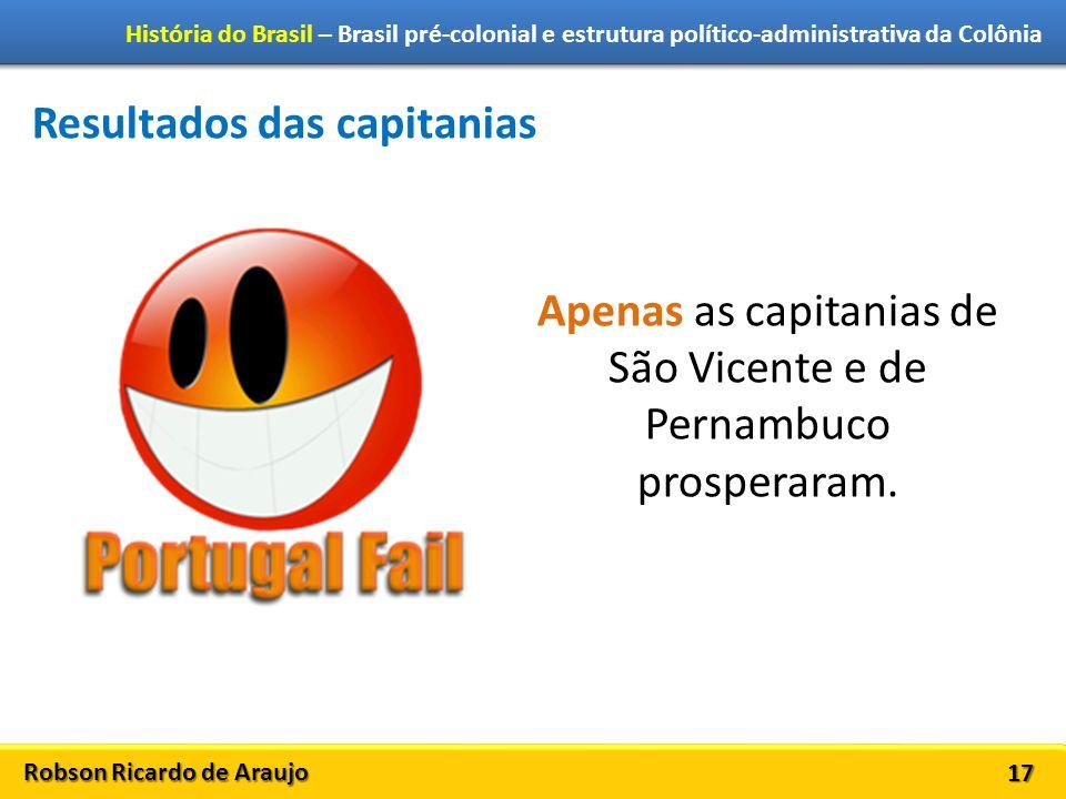 Robson Ricardo de Araujo História do Brasil – Brasil pré-colonial e estrutura político-administrativa da Colônia 17 Resultados das capitanias Apenas a