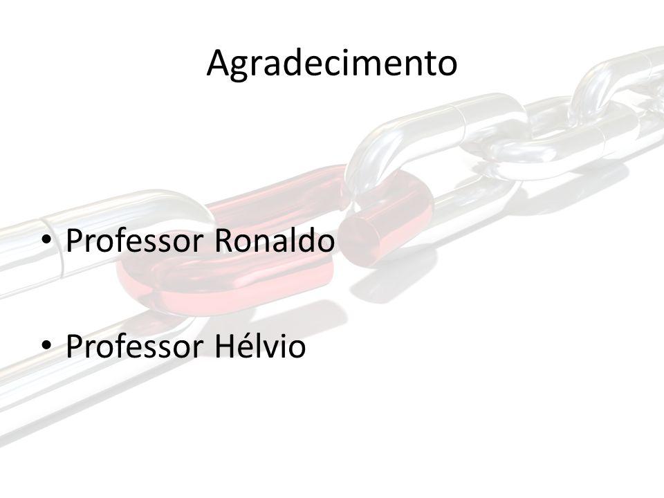 Agradecimento Professor Ronaldo Professor Hélvio