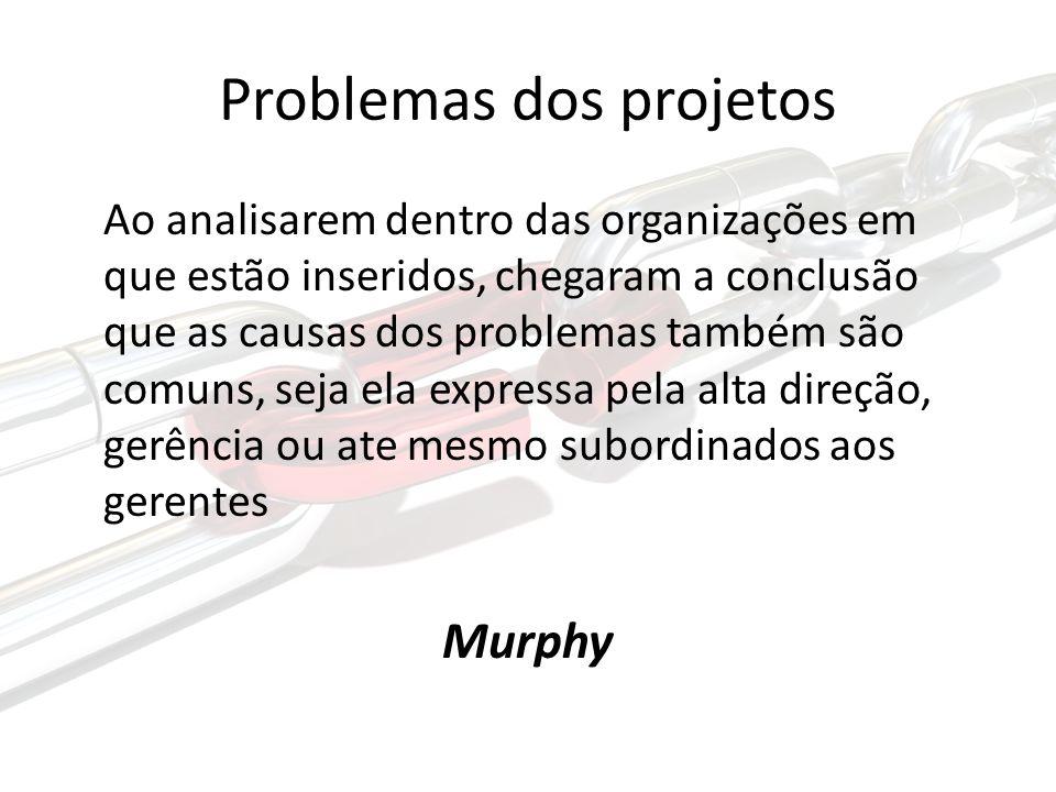 Problemas dos projetos Ao analisarem dentro das organizações em que estão inseridos, chegaram a conclusão que as causas dos problemas também são comuns, seja ela expressa pela alta direção, gerência ou ate mesmo subordinados aos gerentes Murphy