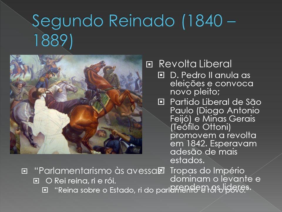 Revolta Liberal D. Pedro II anula as eleições e convoca novo pleito; Partido Liberal de São Paulo (Diogo Antonio Feijó) e Minas Gerais (Teófilo Ottoni