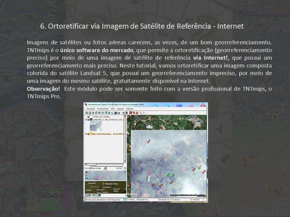 6. Ortoretificar via Imagem de Satélite de Referência - Internet Imagens de satélites ou fotos aéreas carecem, as vezes, de um bom georreferenciamento