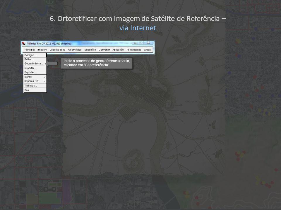 6. Ortoretificar com Imagem de Satélite de Referência – via Internet Inicie o processo de georreferenciamento, clicando em Georeferência