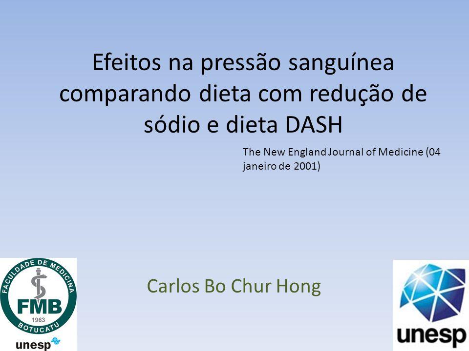 Efeitos na pressão sanguínea comparando dieta com redução de sódio e dieta DASH Carlos Bo Chur Hong The New England Journal of Medicine (04 janeiro de 2001)