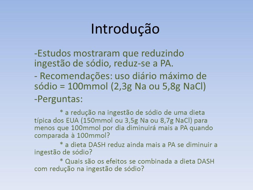 Métodos - Estudo multicêntrico, randomizado comparando efeitos na PA em 3 níveis de ingestão de sódio em 2 dietas entre adultos em que a pressão excedia 120x80 mmHg incluindo aqueles com estágio 1 de hipertensão (sist.140-159 ou diast.90-95) - Período entre setembro 1997 e novembro 1999
