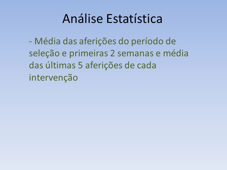 Análise Estatística - Média das aferições do período de seleção e primeiras 2 semanas e média das últimas 5 aferições de cada intervenção
