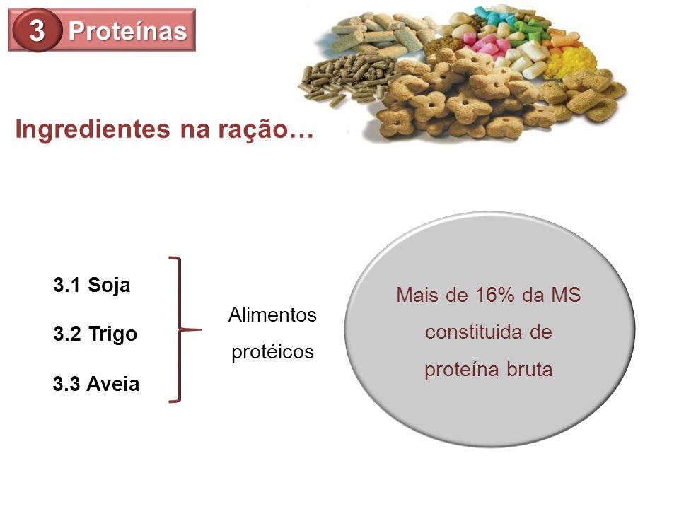 Proteínas 3 Mais de 16% da MS constituida de proteína bruta 3.3 Aveia 3.1 Soja 3.2 Trigo Alimentos protéicos Ingredientes na ração…