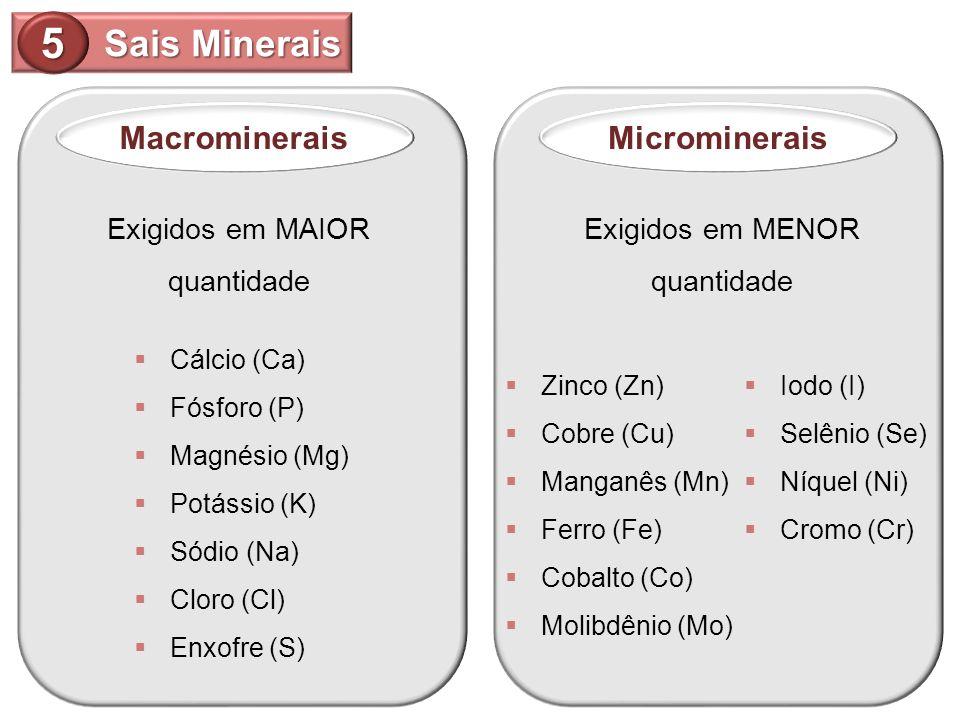 Sais Minerais 5 MacromineraisMicrominerais Exigidos em MAIOR quantidade Exigidos em MENOR quantidade Cálcio (Ca) Fósforo (P) Magnésio (Mg) Potássio (K