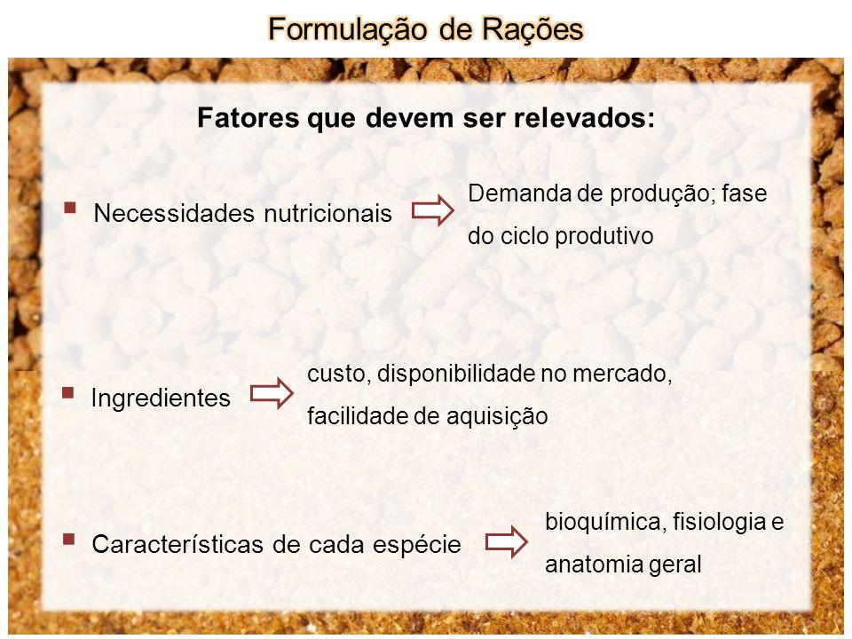 Fatores que devem ser relevados: Necessidades nutricionais Ingredientes Características de cada espécie Demanda de produção; fase do ciclo produtivo c