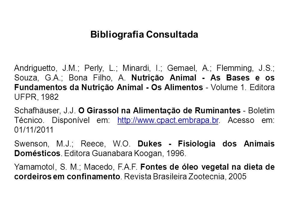 Bibliografia Consultada Andriguetto, J.M.; Perly, L.; Minardi, I.; Gemael, A.; Flemming, J.S.; Souza, G.A.; Bona Filho, A. Nutrição Animal - As Bases