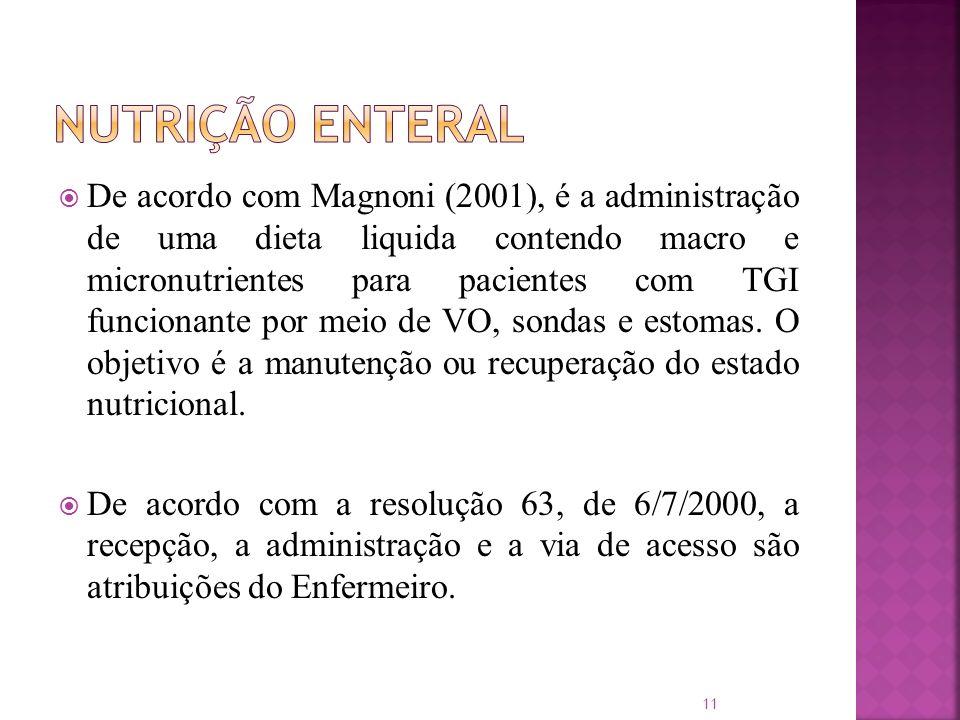 De acordo com Magnoni (2001), é a administração de uma dieta liquida contendo macro e micronutrientes para pacientes com TGI funcionante por meio de V