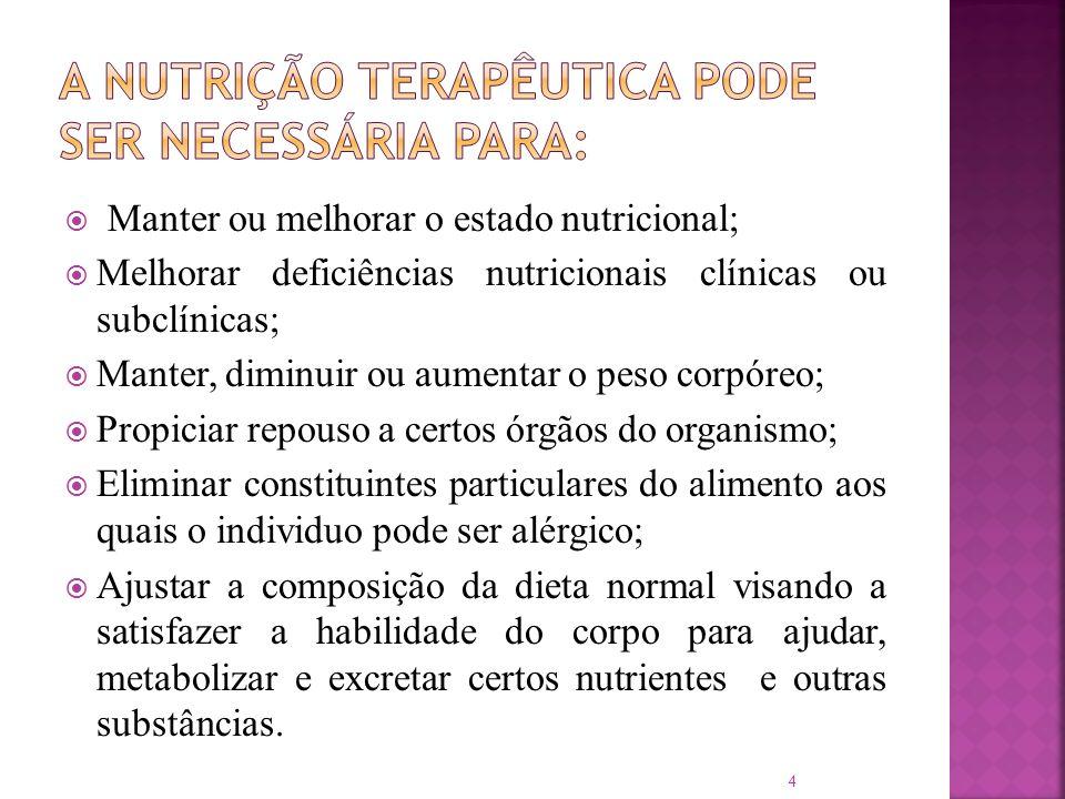 Manter ou melhorar o estado nutricional; Melhorar deficiências nutricionais clínicas ou subclínicas; Manter, diminuir ou aumentar o peso corpóreo; Pro