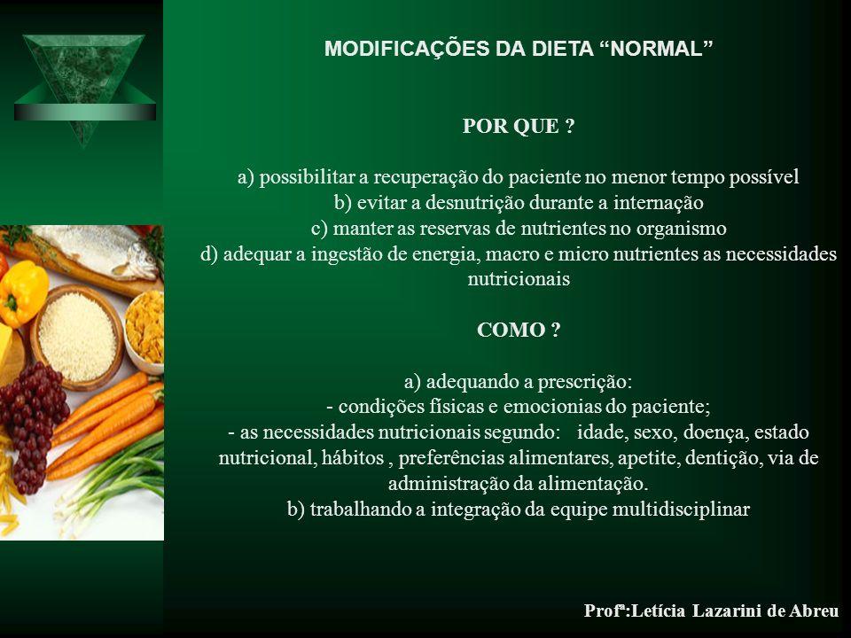 Profª:Letícia Lazarini de Abreu MODIFICAÇÕES DA DIETA NORMAL POR QUE .