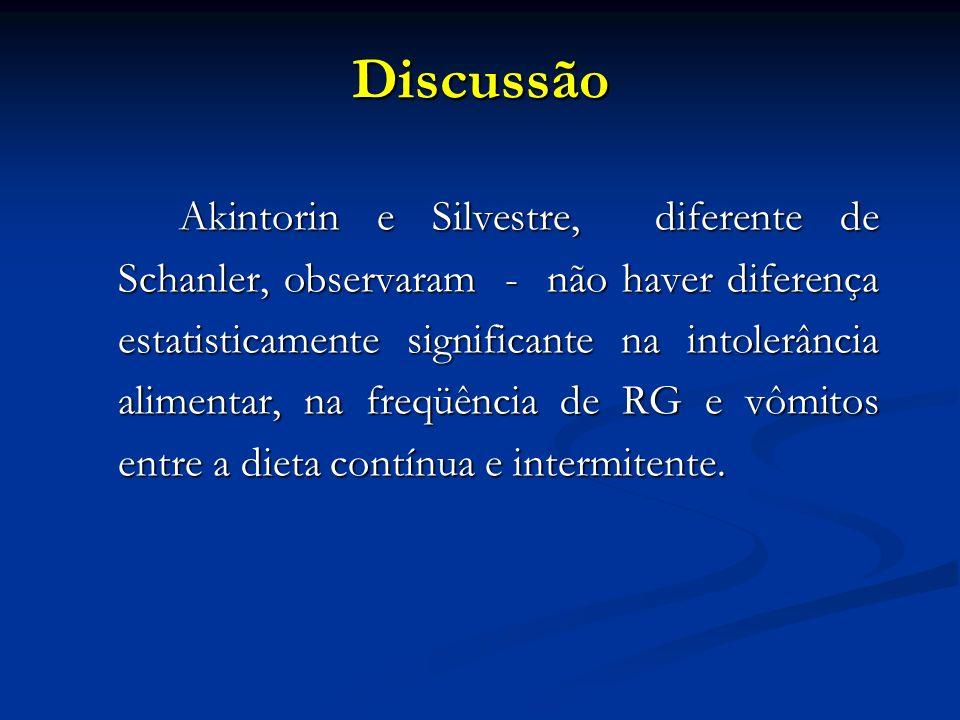 Discussão Akintorin e Silvestre, diferente de Schanler, observaram - não haver diferença estatisticamente significante na intolerância alimentar, na freqüência de RG e vômitos entre a dieta contínua e intermitente.