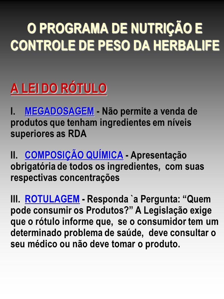 O PROGRAMA DE NUTRIÇÃO E CONTROLE DE PESO DA HERBALIFE A LEI DO RÓTULO MEGADOSAGEM I. MEGADOSAGEM - Não permite a venda de produtos que tenham ingredi