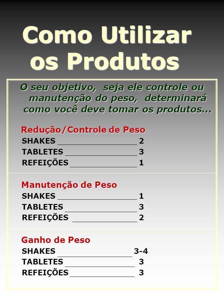 Como Utilizar os Produtos O seu objetivo, seja ele controle ou manutenção do peso, determinará como você deve tomar os produtos... Redução/Controle de