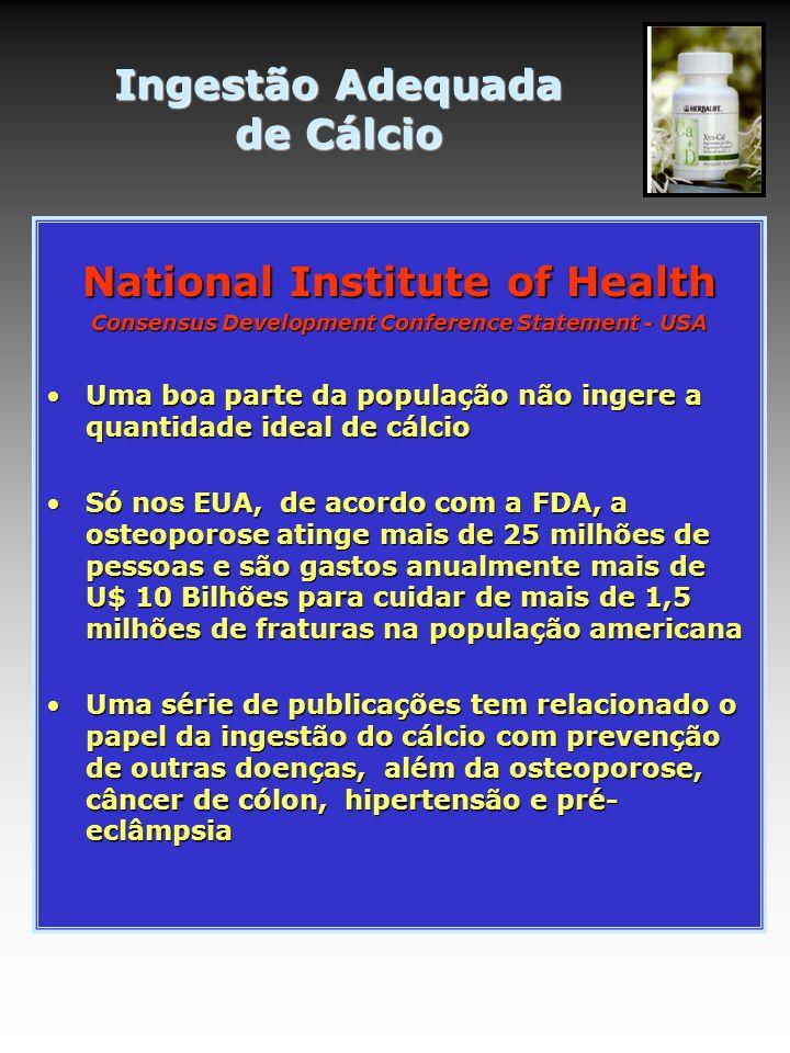 National Institute of Health Consensus Development Conference Statement - USA Uma boa parte da população não ingere a quantidade ideal de cálcioUma bo