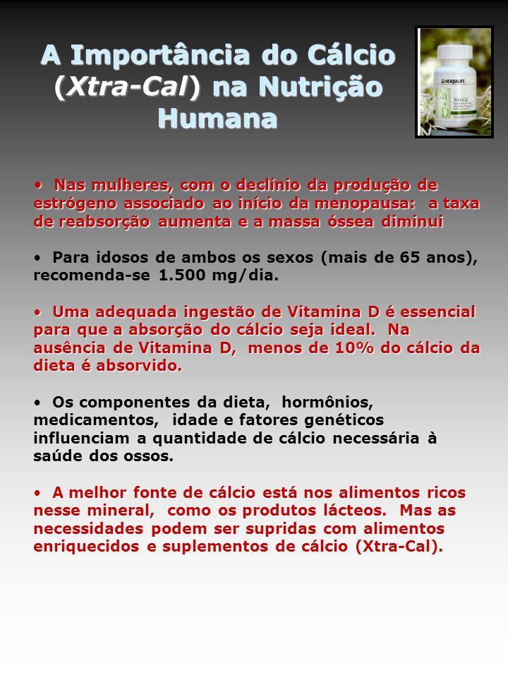 A Importância do Cálcio (Xtra-Cal) na Nutrição Humana Nas mulheres, com o declínio da produção de estrógeno associado ao início da menopausa: a taxa d