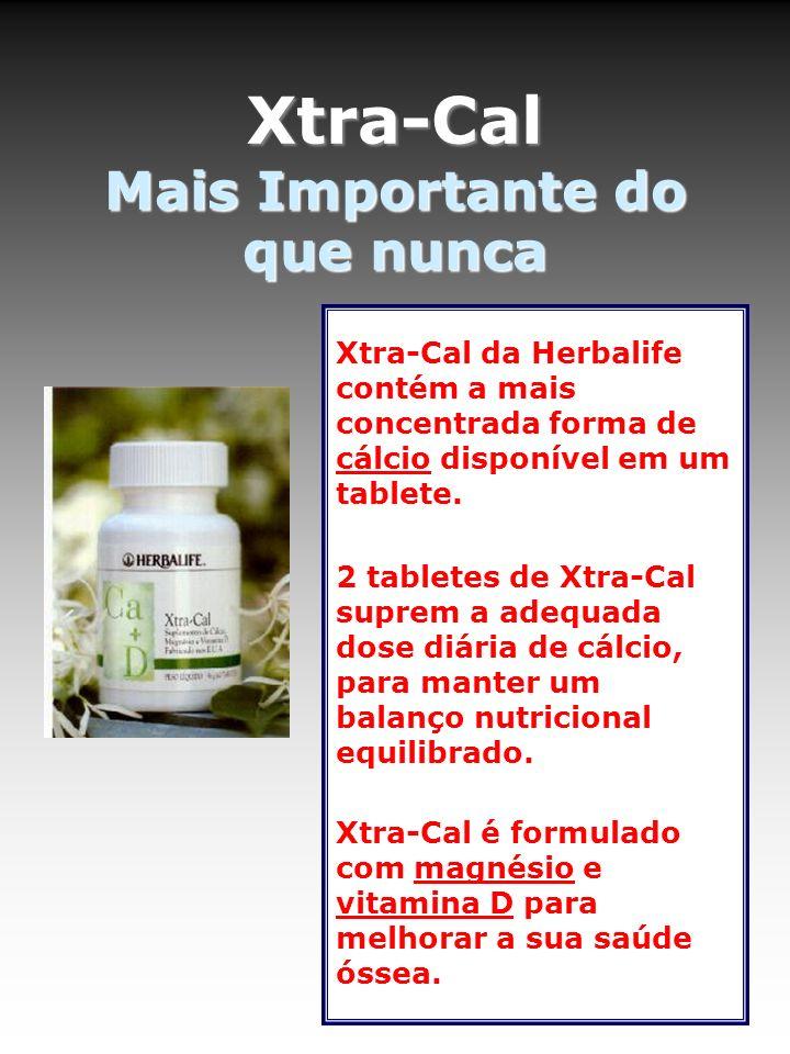 Xtra-Cal Mais Importante do que nunca Xtra-Cal da Herbalife contém a mais concentrada forma de cálcio disponível em um tablete. 2 tabletes de Xtra-Cal