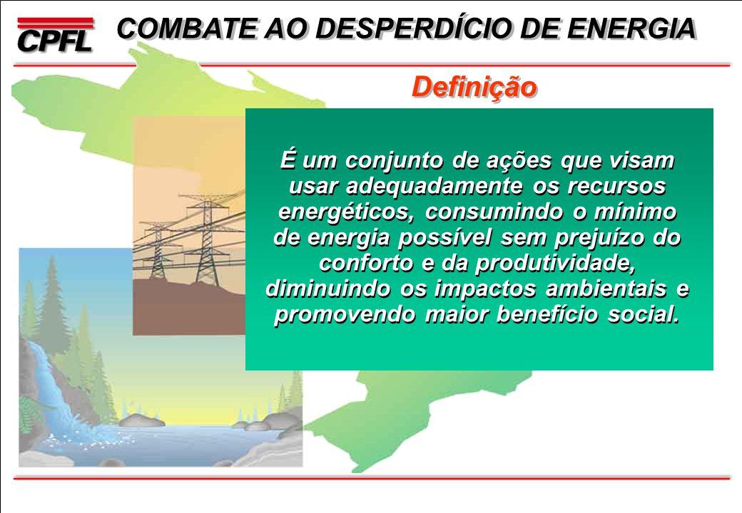 Definição É um conjunto de ações que visam usar adequadamente os recursos energéticos, consumindo o mínimo de energia possível sem prejuízo do conforto e da produtividade, diminuindo os impactos ambientais e promovendo maior benefício social.