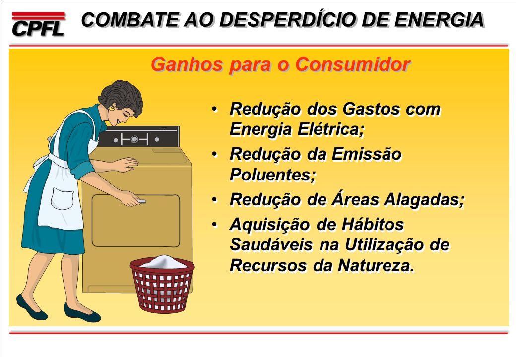Ganhos para o Consumidor Redução dos Gastos com Energia Elétrica; Redução da Emissão Poluentes; Redução de Áreas Alagadas; Aquisição de Hábitos Saudáveis na Utilização de Recursos da Natureza.