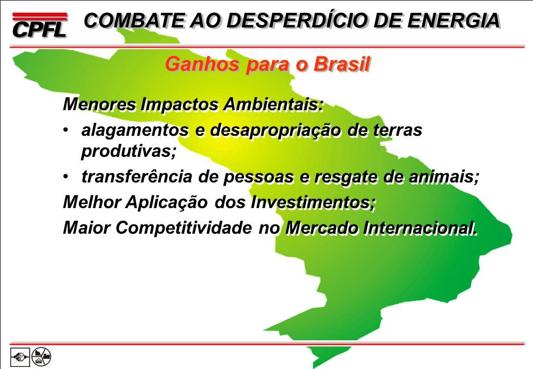Ganhos para o Brasil Menores Impactos Ambientais: alagamentos e desapropriação de terras produtivas; transferência de pessoas e resgate de animais; Melhor Aplicação dos Investimentos; Maior Competitividade no Mercado Internacional.