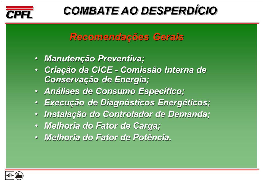 Manutenção Preventiva; Criação da CICE - Comissão Interna de Conservação de Energia; Análises de Consumo Específico; Execução de Diagnósticos Energéticos; Instalação do Controlador de Demanda; Melhoria do Fator de Carga; Melhoria do Fator de Potência.