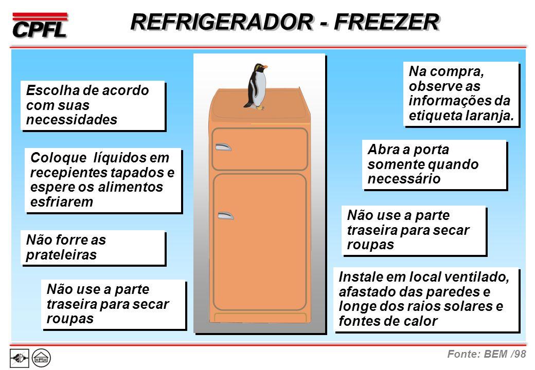 Fonte: BEM /98 REFRIGERADOR - FREEZER Na compra, observe as informações da etiqueta laranja.