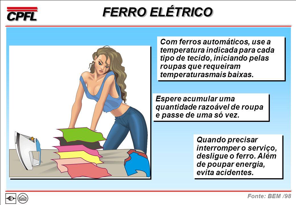 Fonte: BEM /98 FERRO ELÉTRICO Com ferros automáticos, use a temperatura indicada para cada tipo de tecido, iniciando pelas roupas que requeiram temperaturasmais baixas.