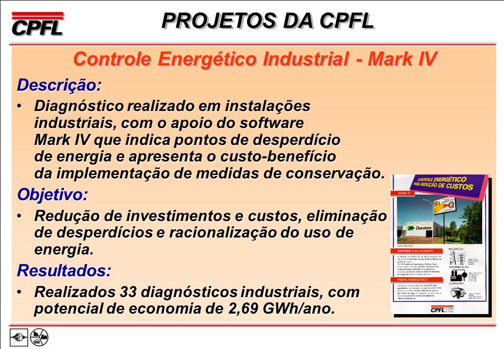 Descrição: Diagnóstico realizado em instalações industriais, com o apoio do software Mark IV que indica pontos de desperdício de energia e apresenta o custo-benefício da implementação de medidas de conservação.
