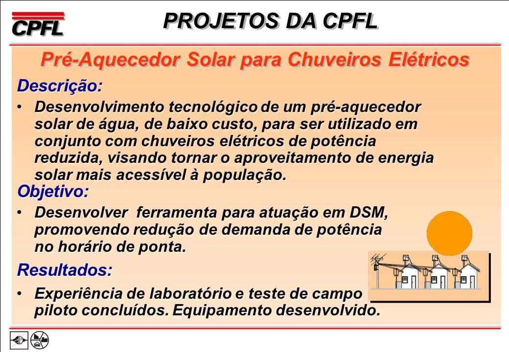 Pré-Aquecedor Solar para Chuveiros Elétricos Objetivo: Desenvolver ferramenta para atuação em DSM, promovendo redução de demanda de potência no horário de ponta.