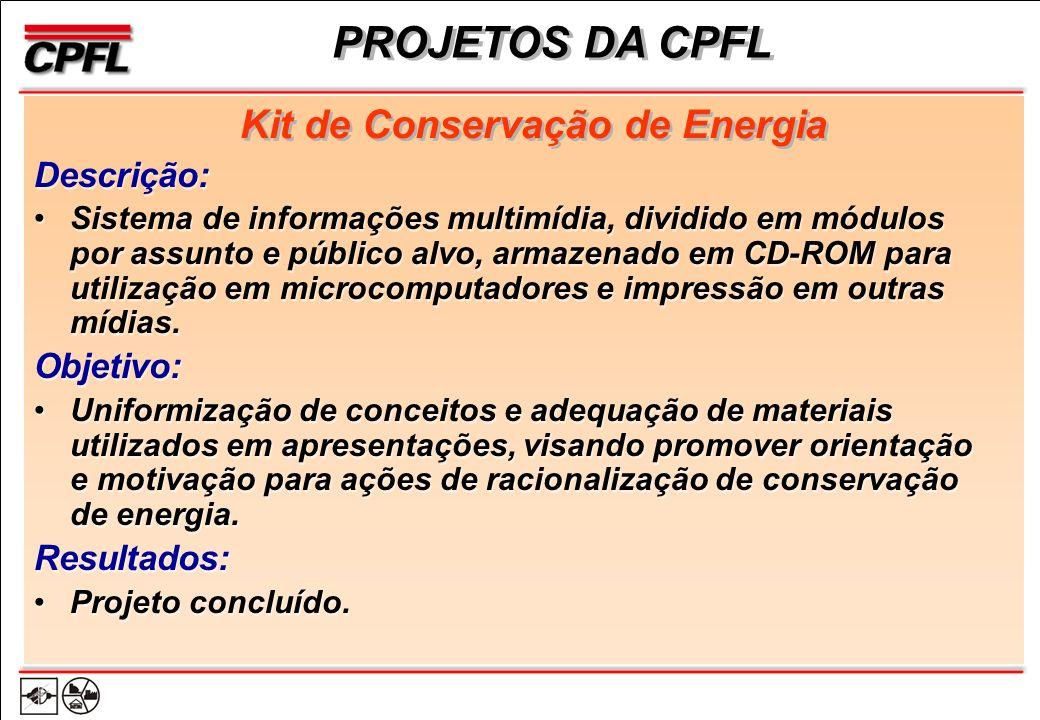 PROJETOS DA CPFL Kit de Conservação de Energia Descrição: Sistema de informações multimídia, dividido em módulos por assunto e público alvo, armazenado em CD-ROM para utilização em microcomputadores e impressão em outras mídias.