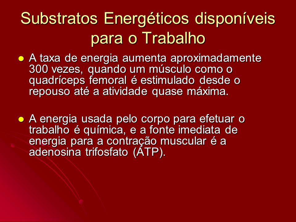 Substratos Energéticos disponíveis para o Trabalho A taxa de energia aumenta aproximadamente 300 vezes, quando um músculo como o quadríceps femoral é