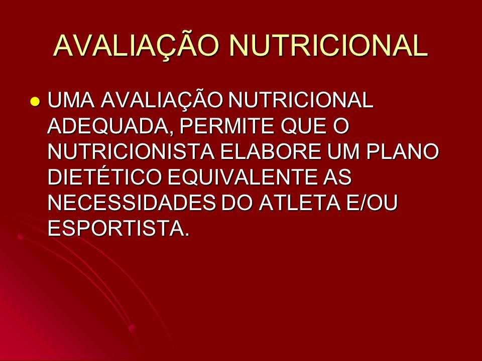 AVALIAÇÃO NUTRICIONAL UMA AVALIAÇÃO NUTRICIONAL ADEQUADA, PERMITE QUE O NUTRICIONISTA ELABORE UM PLANO DIETÉTICO EQUIVALENTE AS NECESSIDADES DO ATLETA