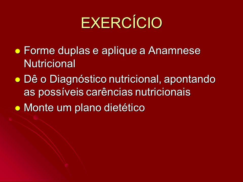 EXERCÍCIO Forme duplas e aplique a Anamnese Nutricional Forme duplas e aplique a Anamnese Nutricional Dê o Diagnóstico nutricional, apontando as possí