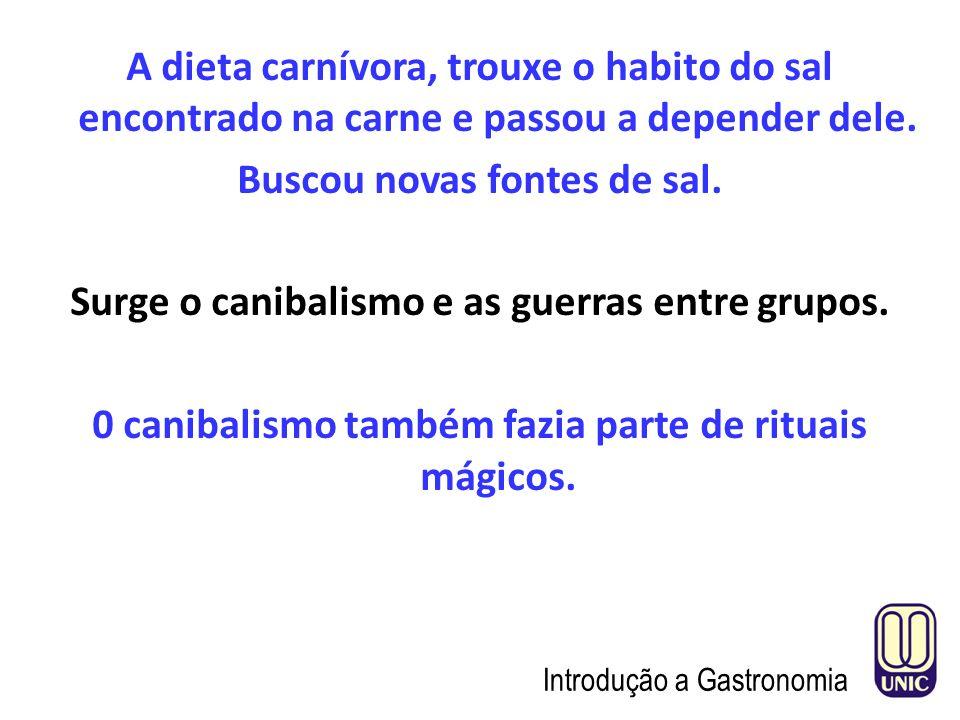 A dieta carnívora, trouxe o habito do sal encontrado na carne e passou a depender dele.