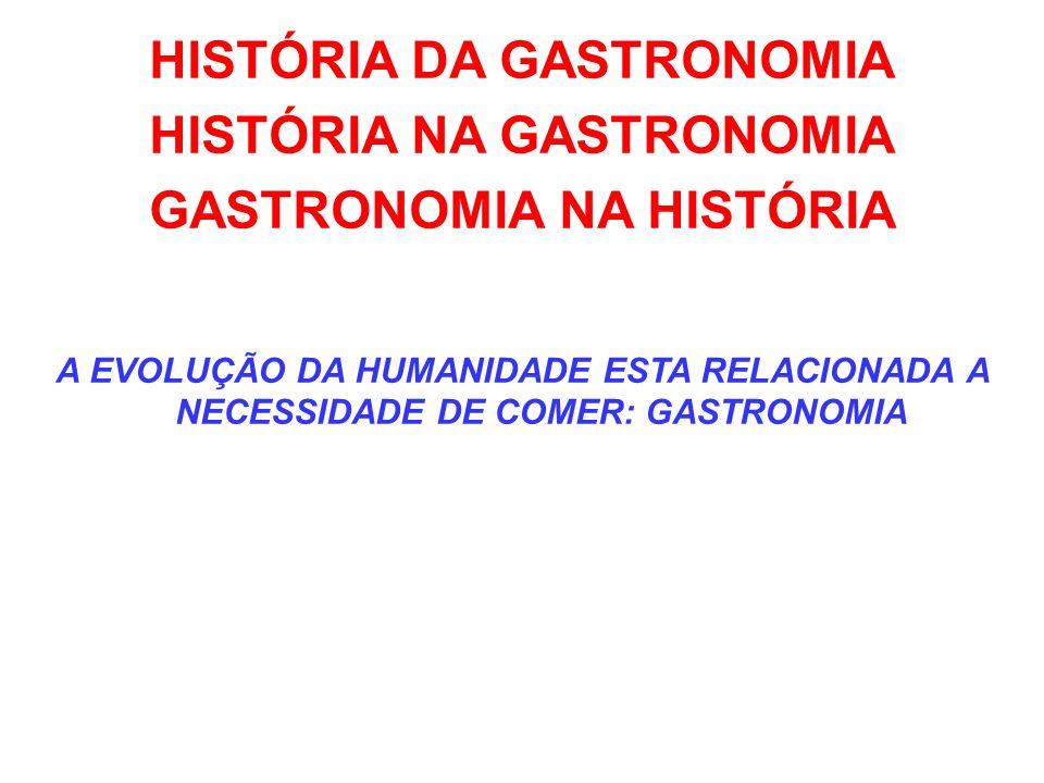 HISTÓRIA DA GASTRONOMIA HISTÓRIA NA GASTRONOMIA GASTRONOMIA NA HISTÓRIA A EVOLUÇÃO DA HUMANIDADE ESTA RELACIONADA A NECESSIDADE DE COMER: GASTRONOMIA