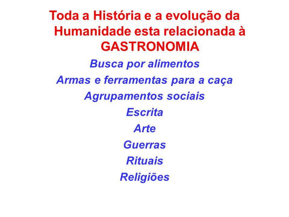 Toda a História e a evolução da Humanidade esta relacionada à GASTRONOMIA Busca por alimentos Armas e ferramentas para a caça Agrupamentos sociais Escrita Arte Guerras Rituais Religiões