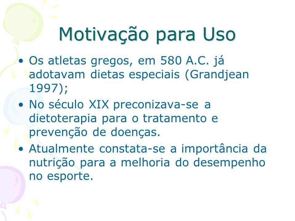 Motivação para Uso Os atletas gregos, em 580 A.C. já adotavam dietas especiais (Grandjean 1997); No século XIX preconizava-se a dietoterapia para o tr