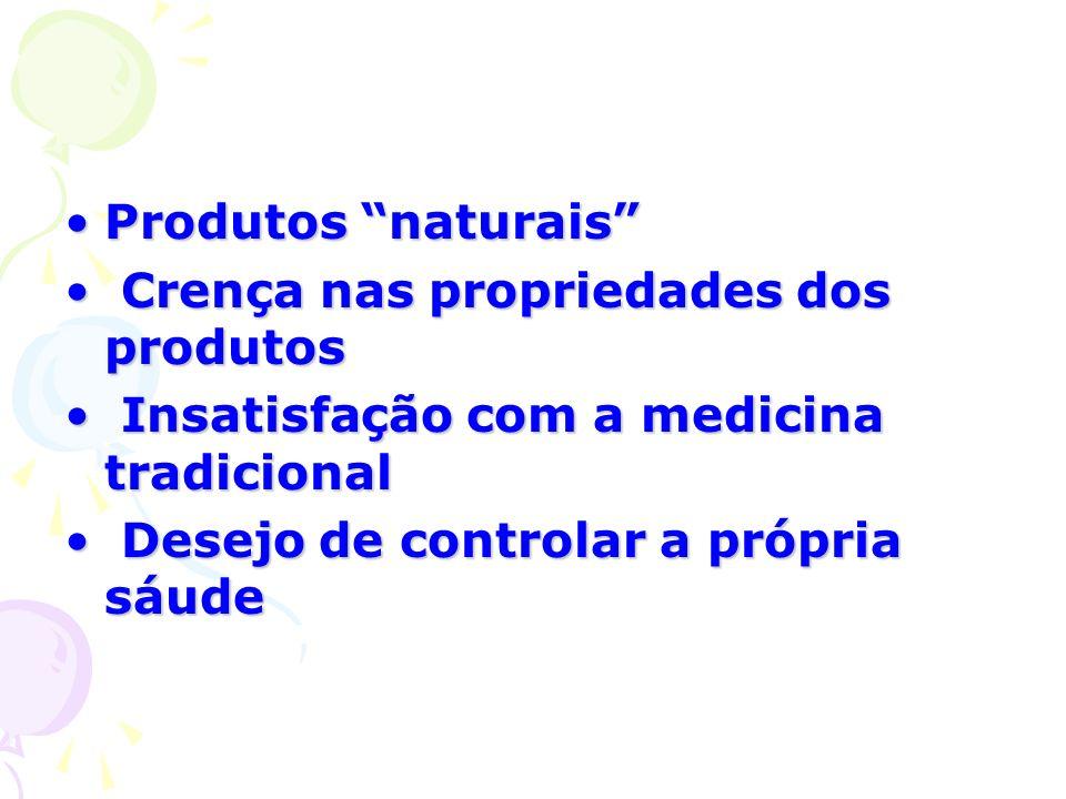 Produtos naturaisProdutos naturais Crença nas propriedades dos produtos Crença nas propriedades dos produtos Insatisfação com a medicina tradicional I