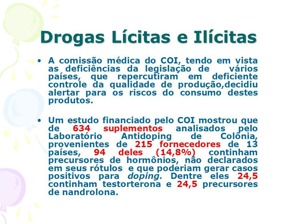 Drogas Lícitas e Ilícitas A comissão médica do COI, tendo em vista as deficiências da legislação de vários países, que repercutiram em deficiente cont