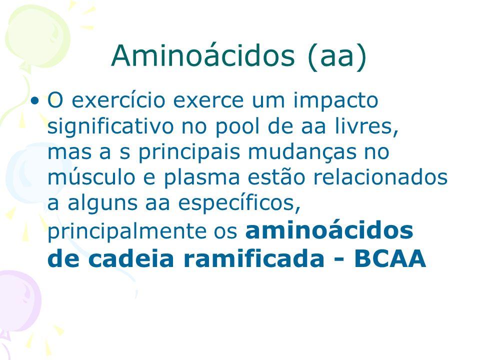 Aminoácidos (aa) O exercício exerce um impacto significativo no pool de aa livres, mas a s principais mudanças no músculo e plasma estão relacionados