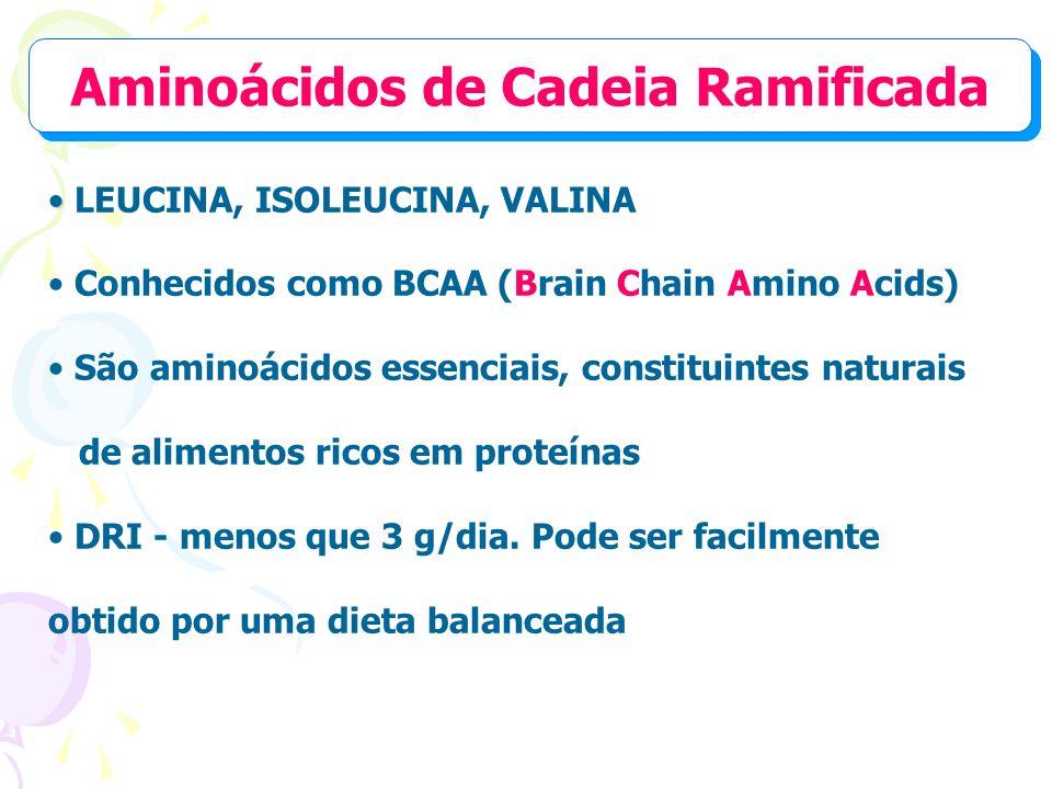 Aminoácidos de Cadeia Ramificada LEUCINA, ISOLEUCINA, VALINA Conhecidos como BCAA (Brain Chain Amino Acids) São aminoácidos essenciais, constituintes