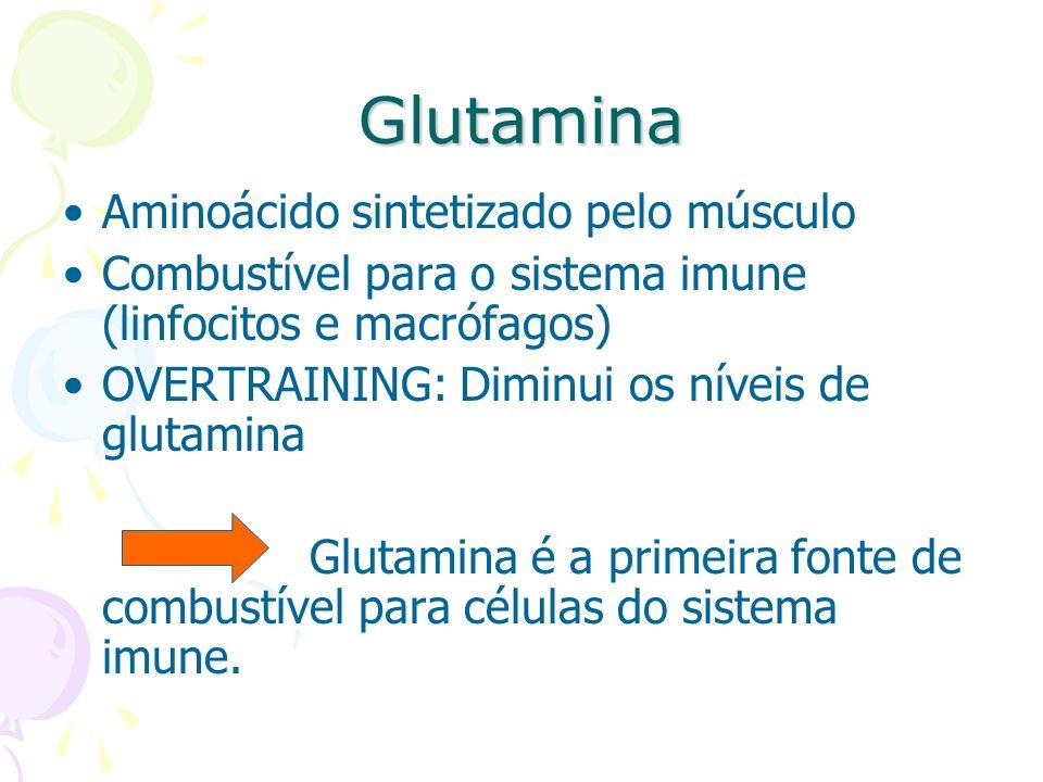 Glutamina Aminoácido sintetizado pelo músculo Combustível para o sistema imune (linfocitos e macrófagos) OVERTRAINING: Diminui os níveis de glutamina