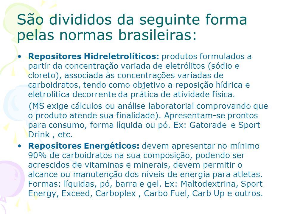 São divididos da seguinte forma pelas normas brasileiras: Repositores Hidreletrolíticos: produtos formulados a partir da concentração variada de eletr